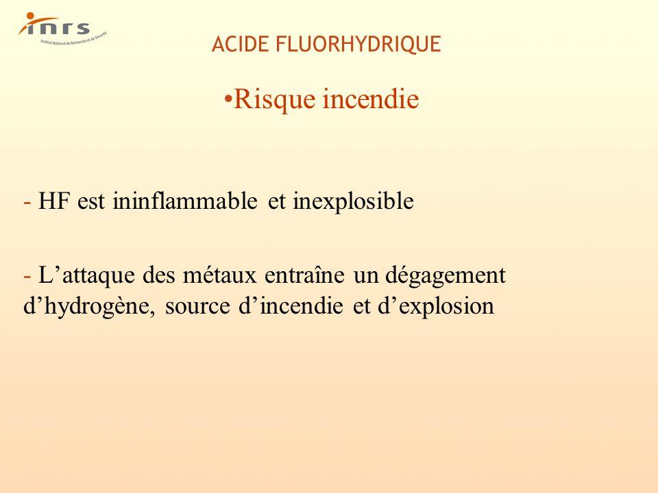 Risque incendie HF est ininflammable et inexplosible