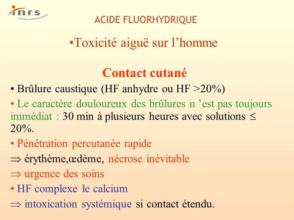 Toxicité aiguë sur l'homme
