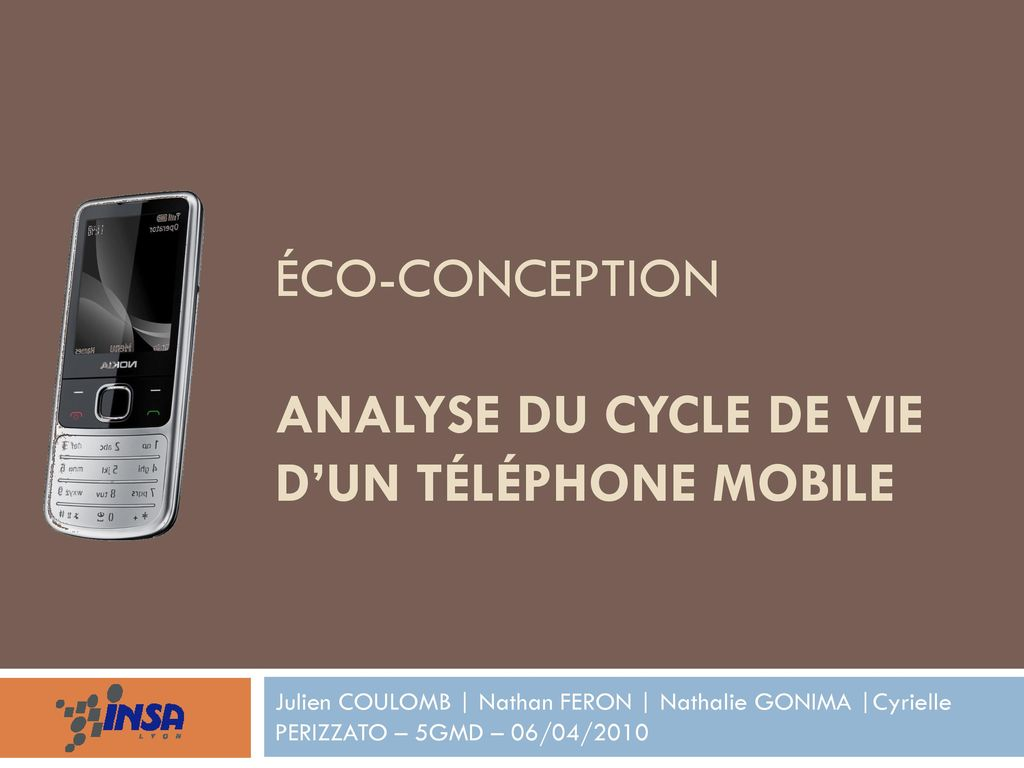 u00c9co-conception analyse du cycle de vie d u2019un t u00e9l u00e9phone mobile