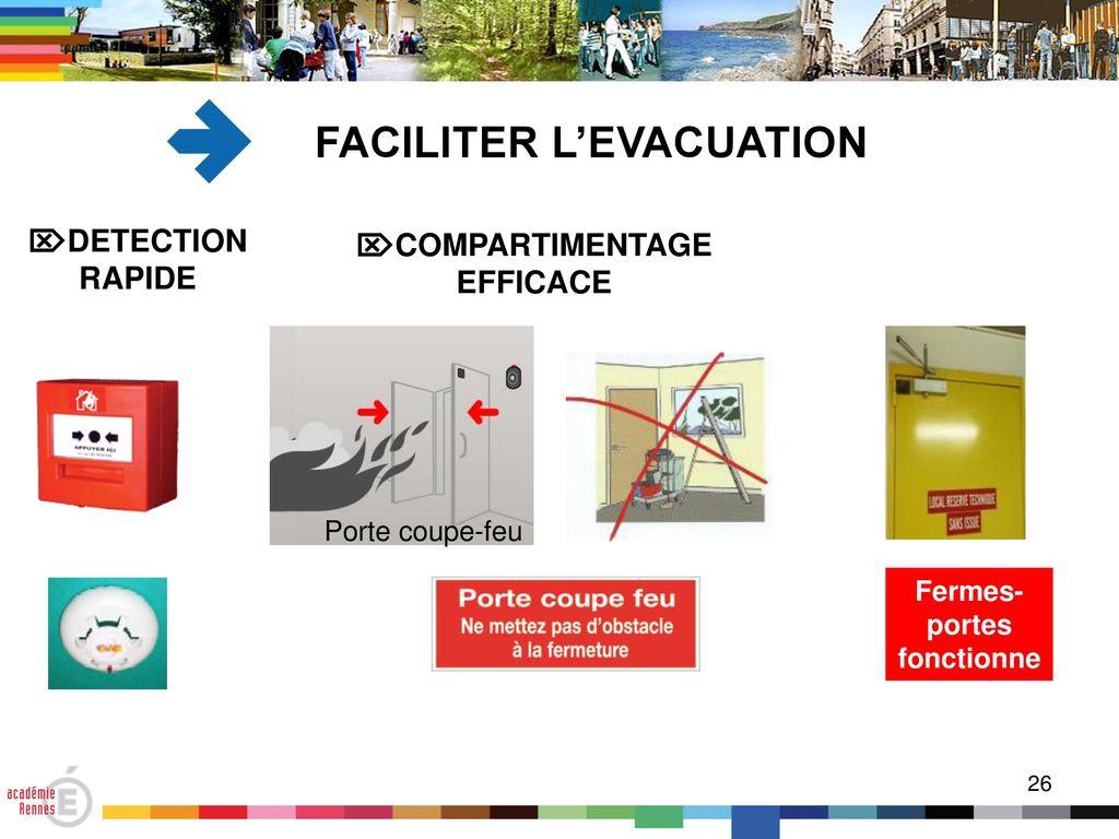 FACILITER Lu0027EVACUATION Fermes-portes Fonctionnels