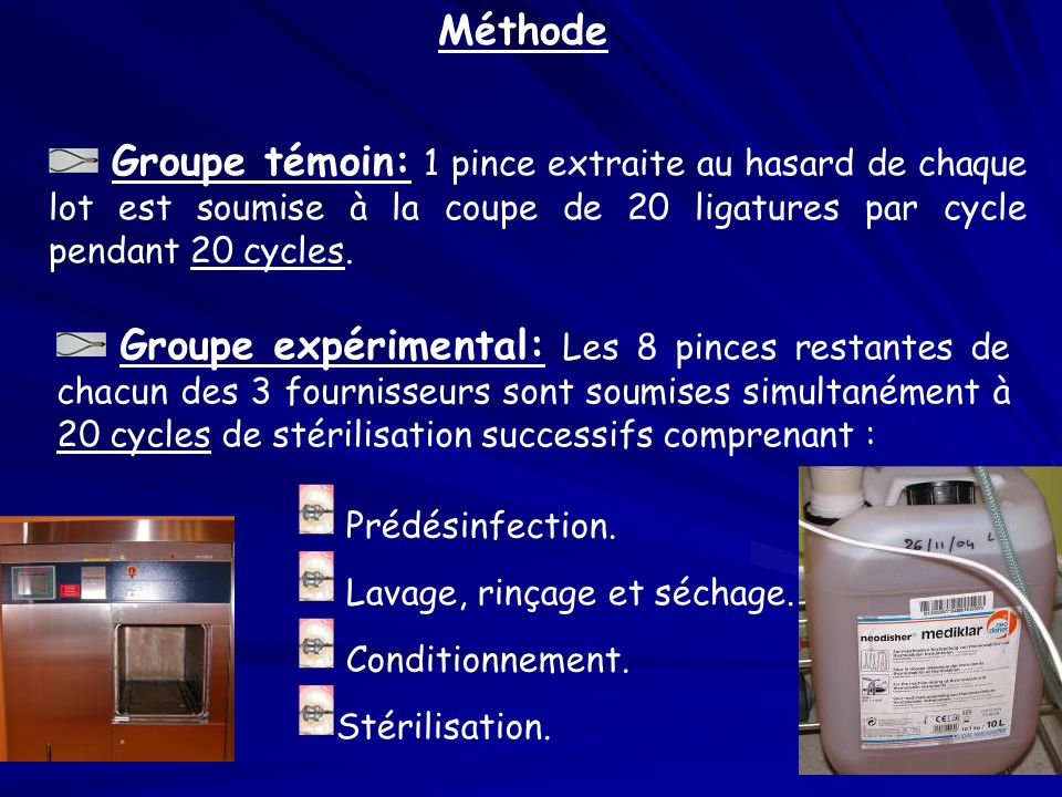 Méthode Groupe témoin: 1 pince extraite au hasard de chaque lot est soumise à la coupe de 20 ligatures par cycle pendant 20 cycles.