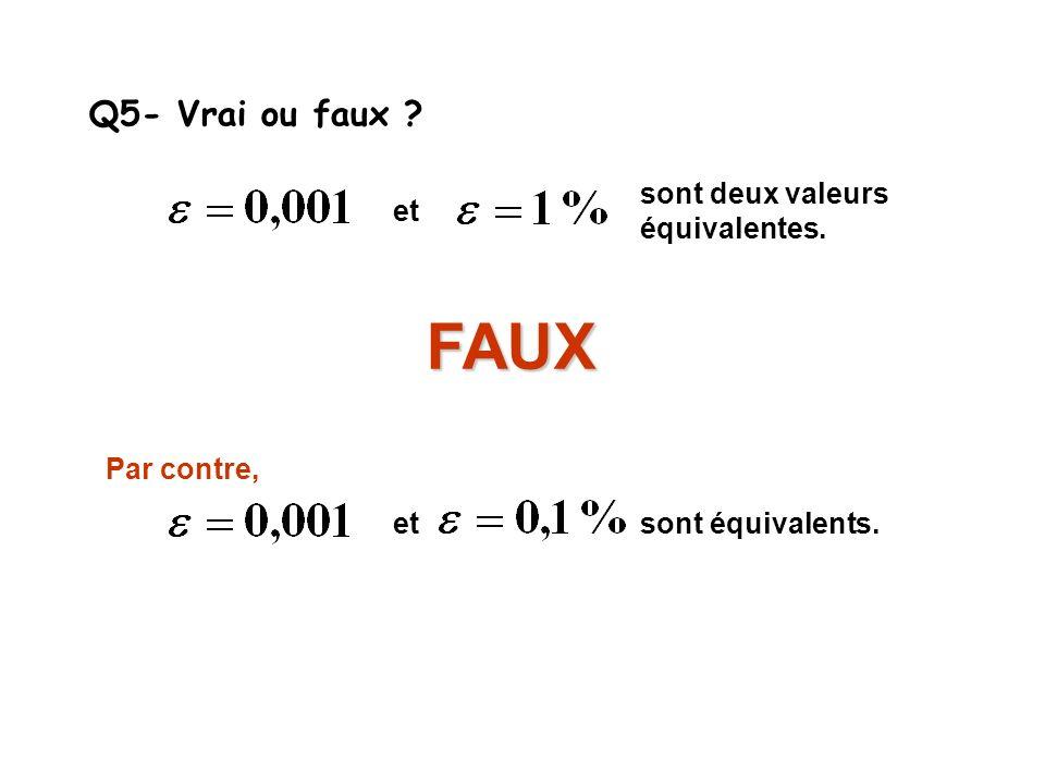 FAUX Q5- Vrai ou faux sont deux valeurs équivalentes. et et