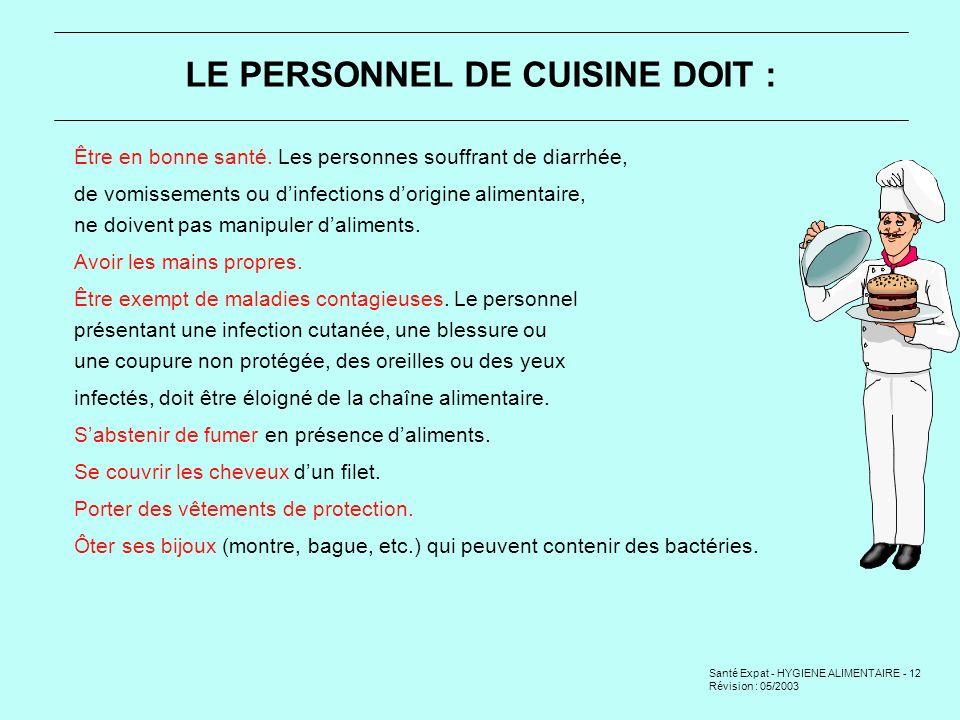LE PERSONNEL DE CUISINE DOIT :