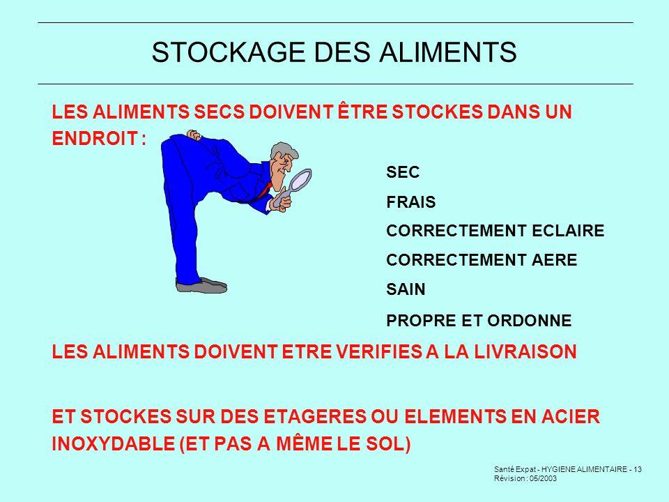 STOCKAGE DES ALIMENTS LES ALIMENTS SECS DOIVENT ÊTRE STOCKES DANS UN ENDROIT : SEC. FRAIS. CORRECTEMENT ECLAIRE.