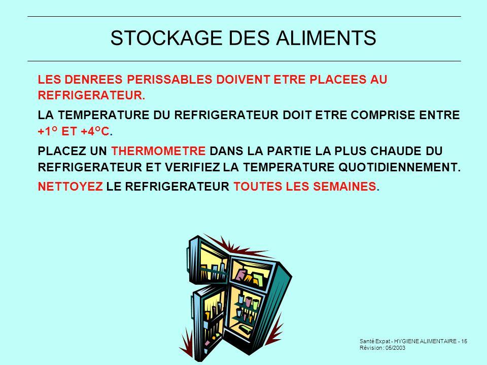 STOCKAGE DES ALIMENTS LES DENREES PERISSABLES DOIVENT ETRE PLACEES AU REFRIGERATEUR.