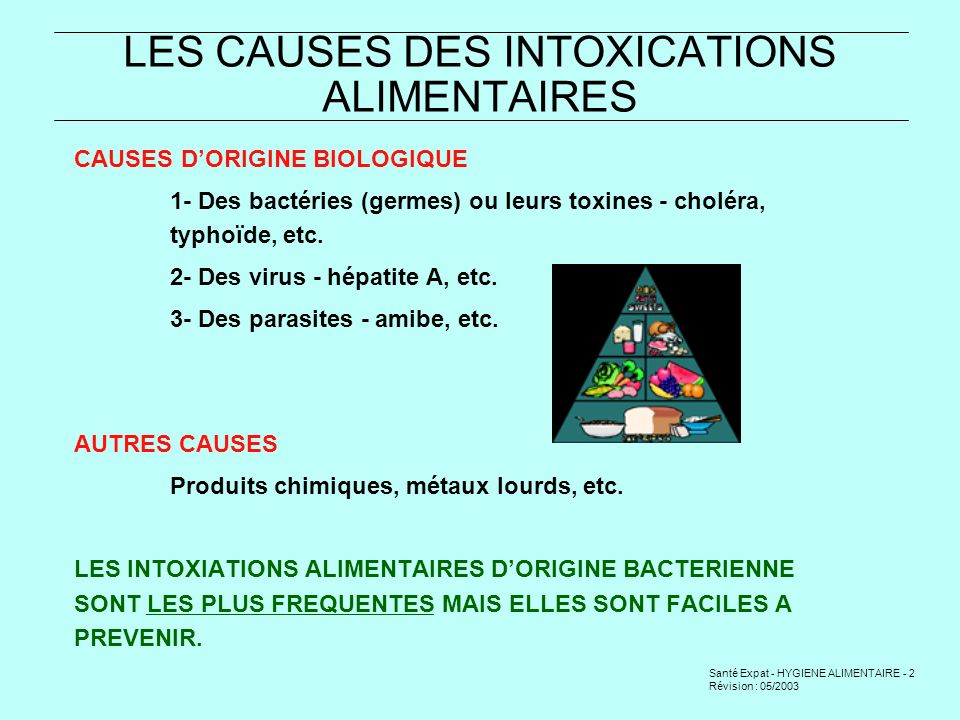 LES CAUSES DES INTOXICATIONS ALIMENTAIRES