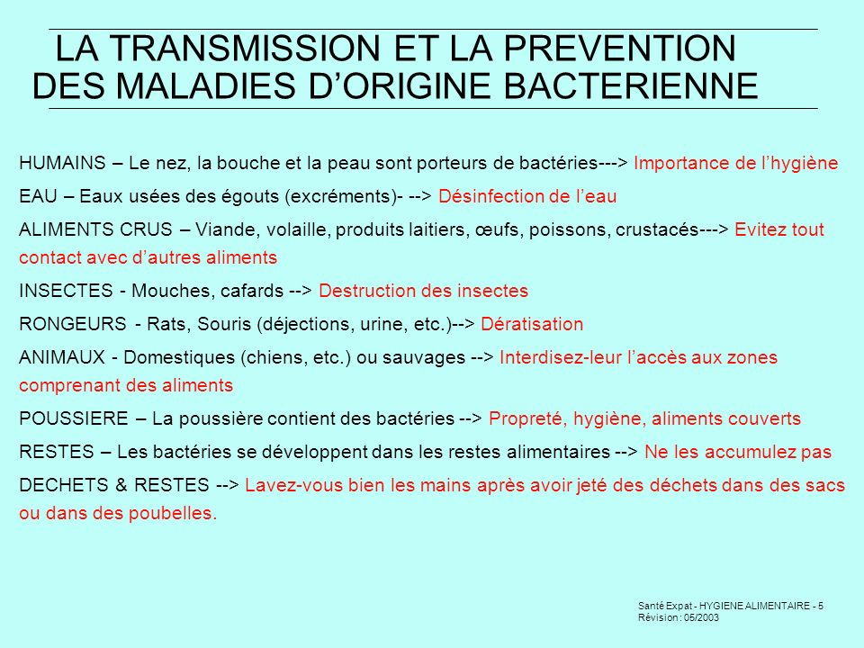 LA TRANSMISSION ET LA PREVENTION DES MALADIES D'ORIGINE BACTERIENNE