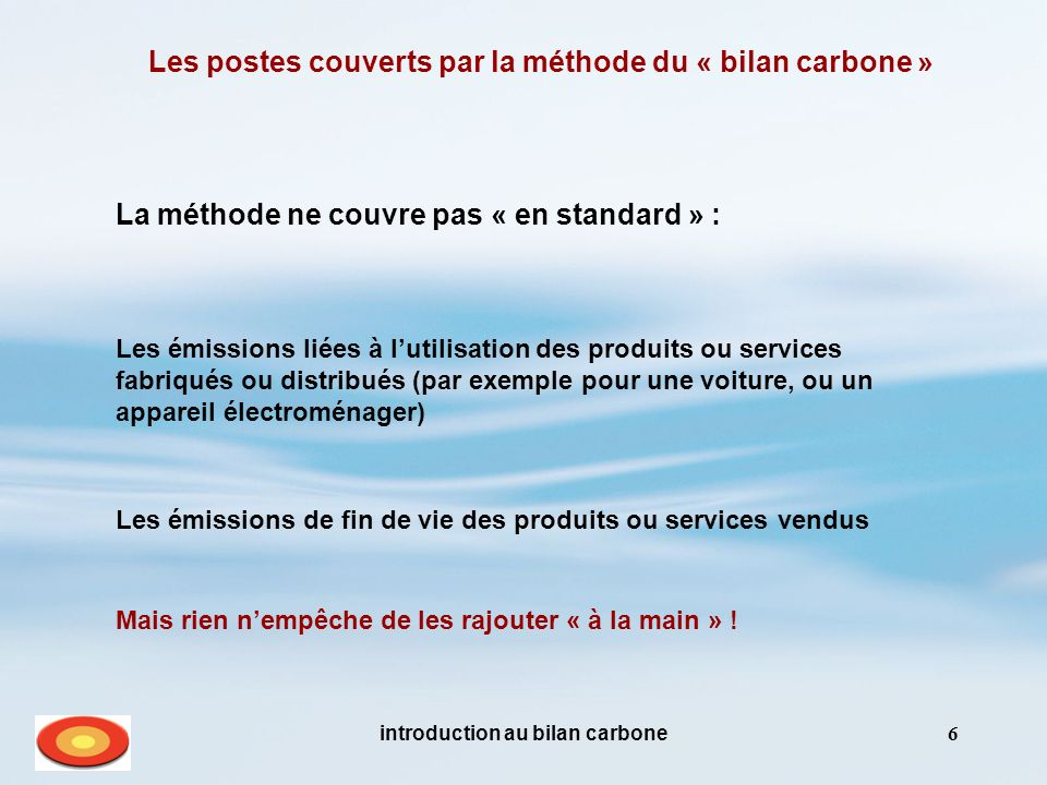 Les postes couverts par la méthode du « bilan carbone »