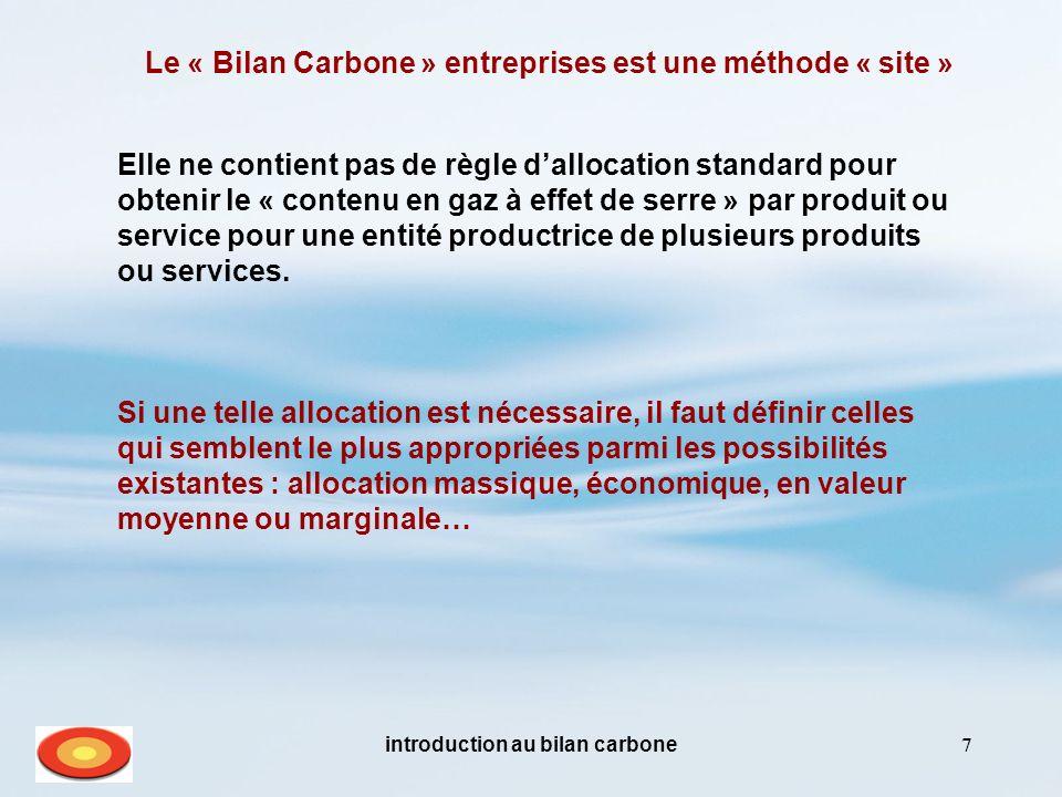 Le « Bilan Carbone » entreprises est une méthode « site »