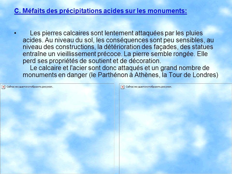 C. Méfaits des précipitations acides sur les monuments: