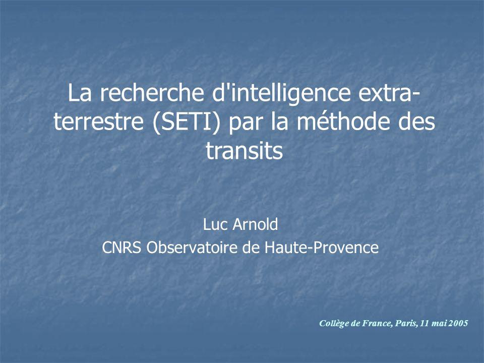 Luc Arnold CNRS Observatoire de Haute-Provence