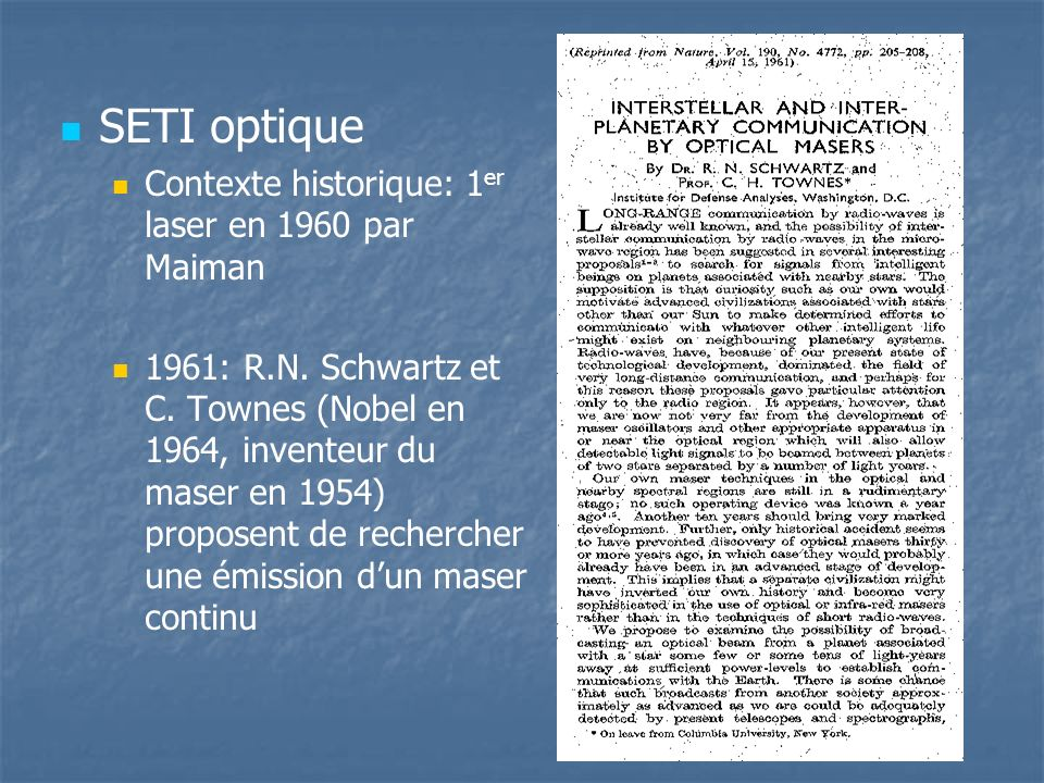 SETI optique Contexte historique: 1er laser en 1960 par Maiman