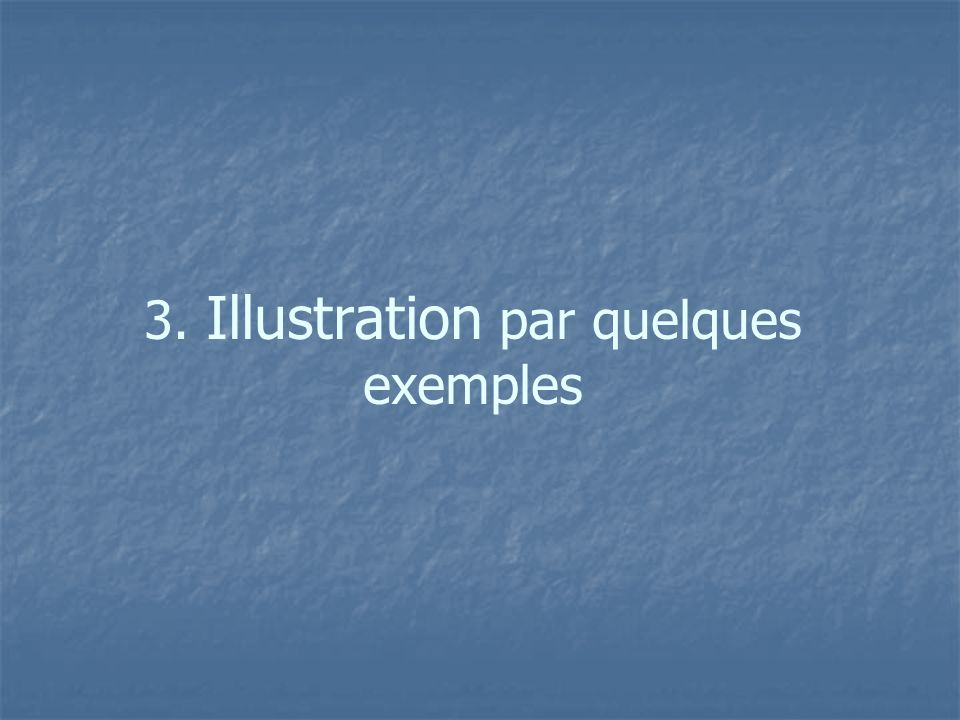 3. Illustration par quelques exemples