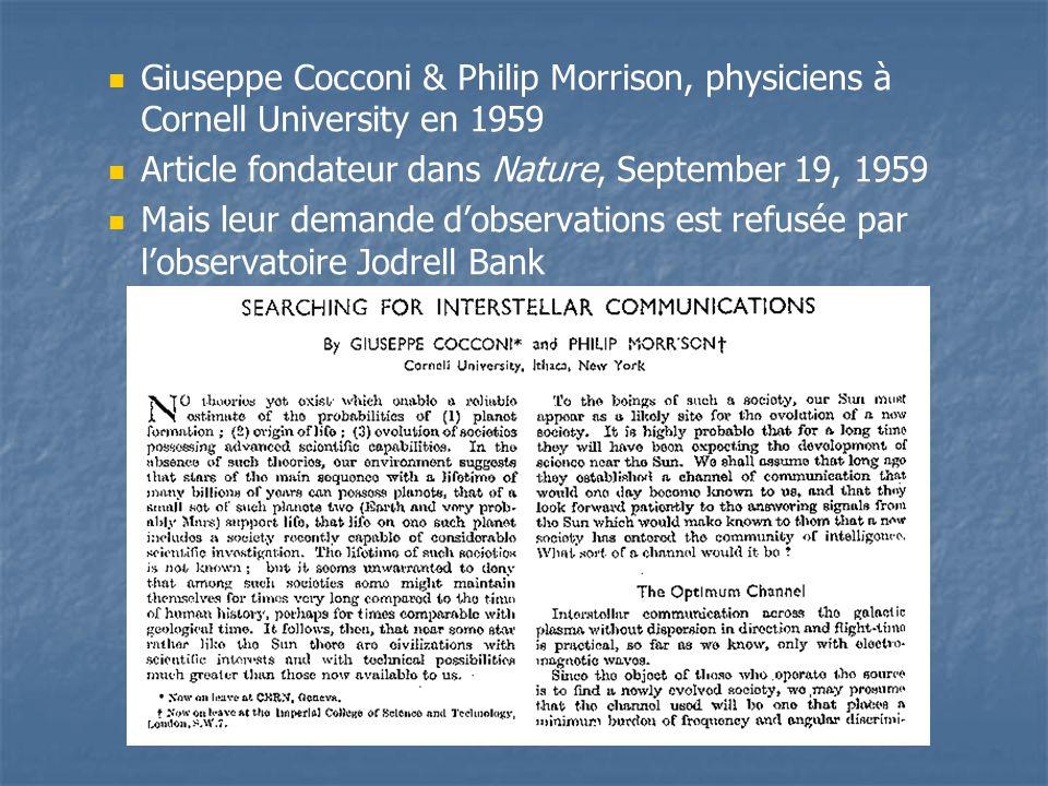 Giuseppe Cocconi & Philip Morrison, physiciens à Cornell University en 1959