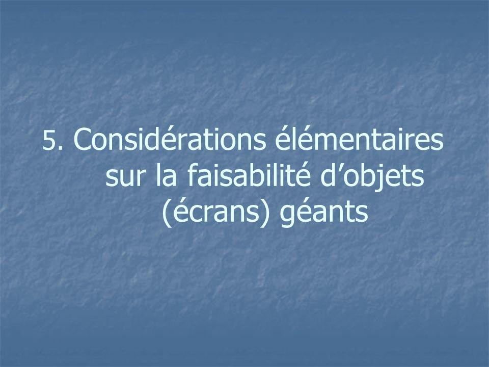 5. Considérations élémentaires sur la faisabilité d'objets (écrans) géants