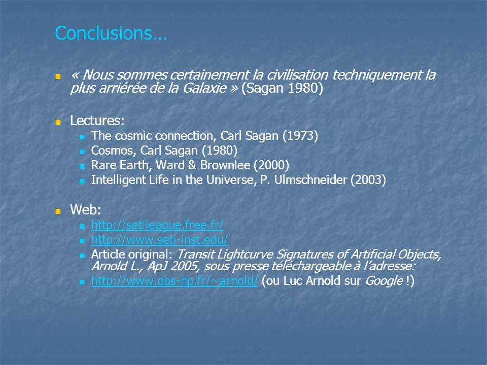 Conclusions… « Nous sommes certainement la civilisation techniquement la plus arriérée de la Galaxie » (Sagan 1980)