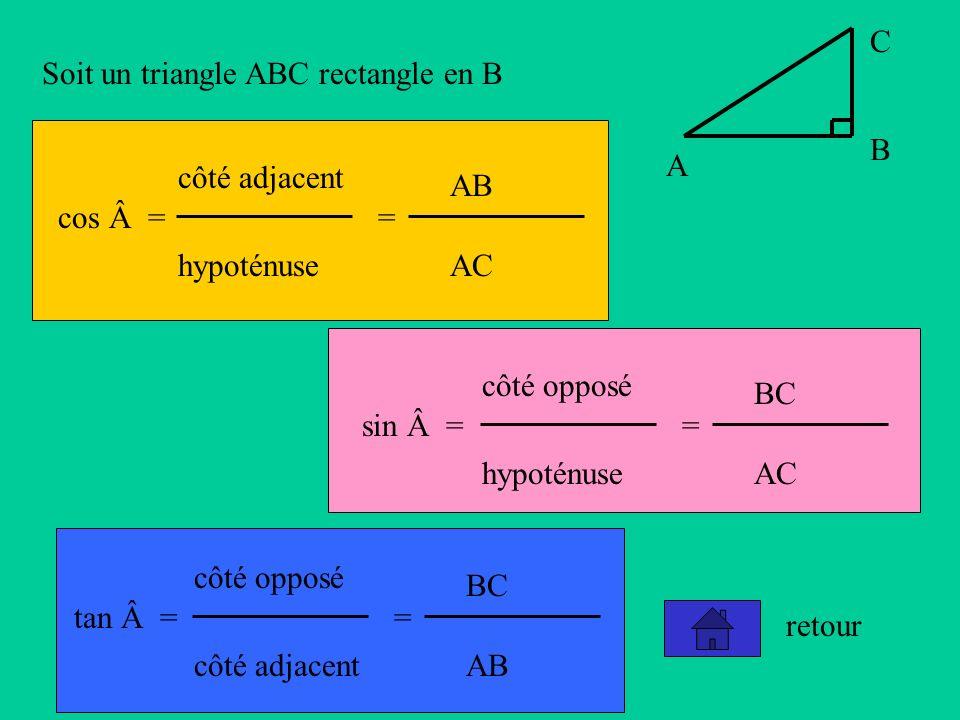 A B. C. Soit un triangle ABC rectangle en B. cos = côté adjacent. hypoténuse. = AB. AC. sin =