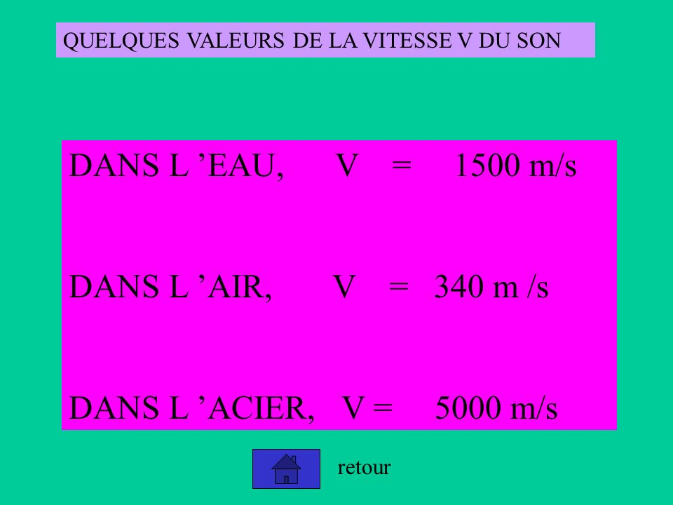 DANS L 'EAU, V = 1500 m/s DANS L 'AIR, V = 340 m /s