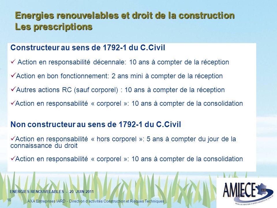 Energies renouvelables et droit de la construction Les prescriptions