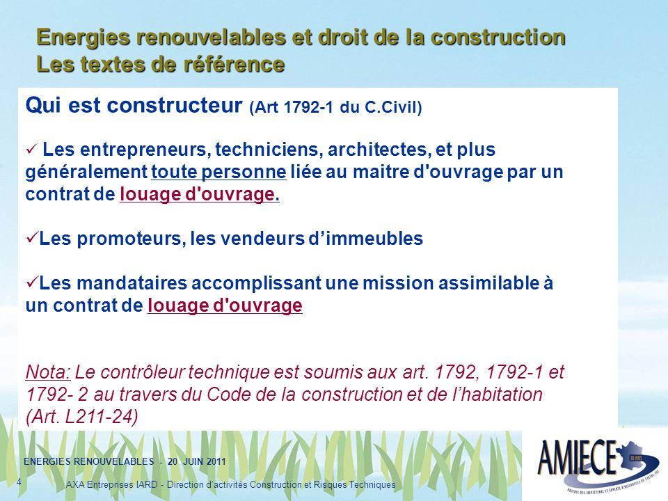 Energies renouvelables et droit de la construction