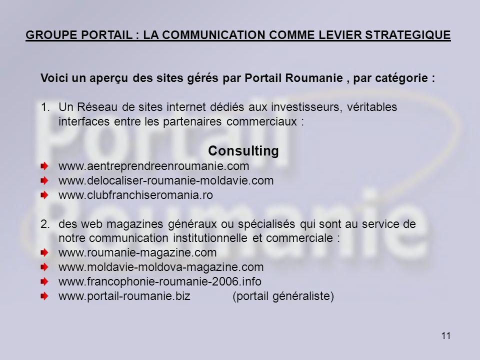 Consulting GROUPE PORTAIL : LA COMMUNICATION COMME LEVIER STRATEGIQUE