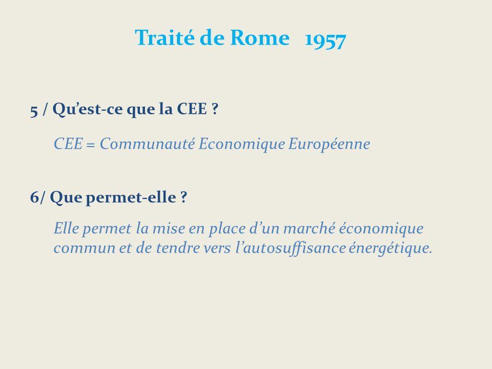 Traité de Rome 1957 5 / Qu'est-ce que la CEE