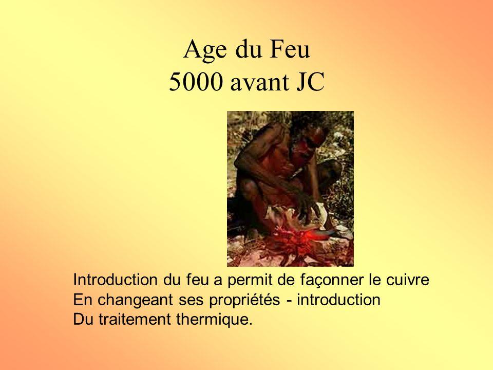Age du Feu 5000 avant JC Introduction du feu a permit de façonner le cuivre. En changeant ses propriétés - introduction.