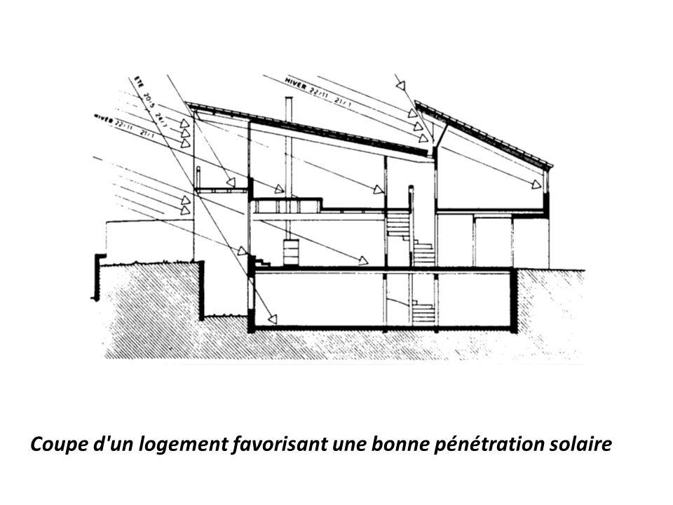 Coupe d un logement favorisant une bonne pénétration solaire