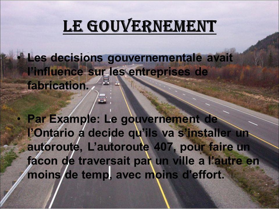 Le Gouvernement Les decisions gouvernementale avait l'influence sur les entreprises de fabrication.