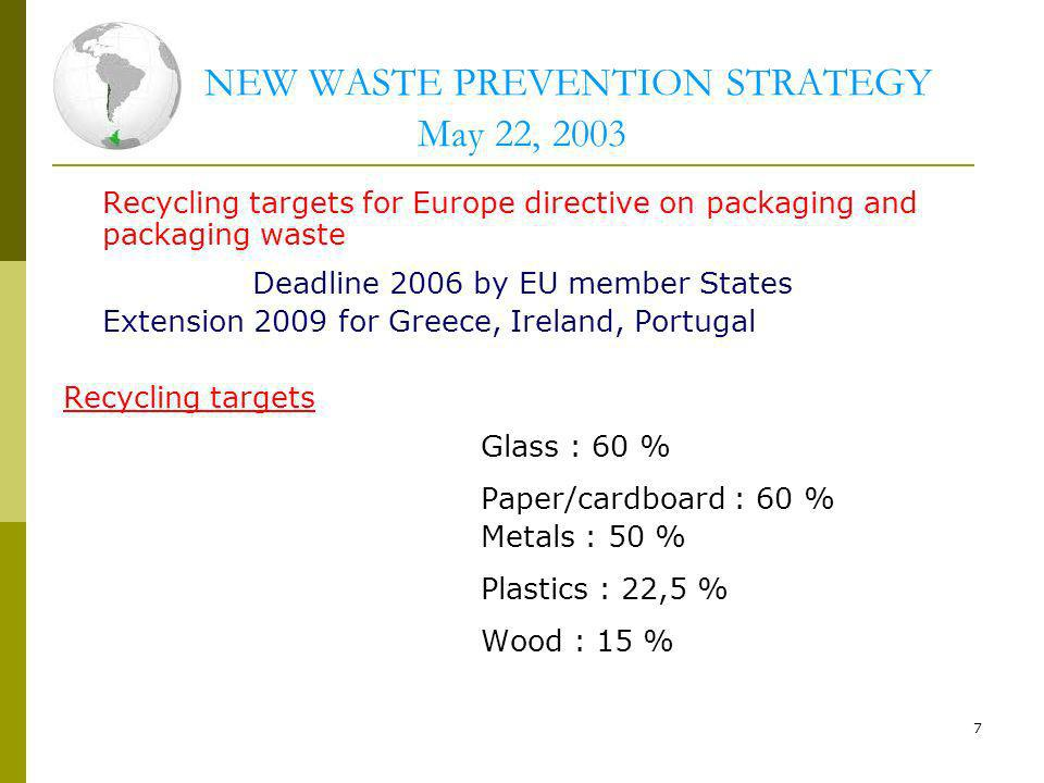 NEW WASTE PREVENTION STRATEGY May 22, 2003