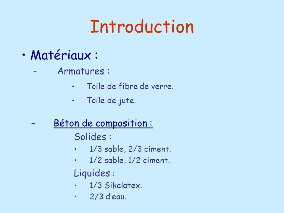 Introduction Matériaux : Béton de composition : Solides : Liquides :