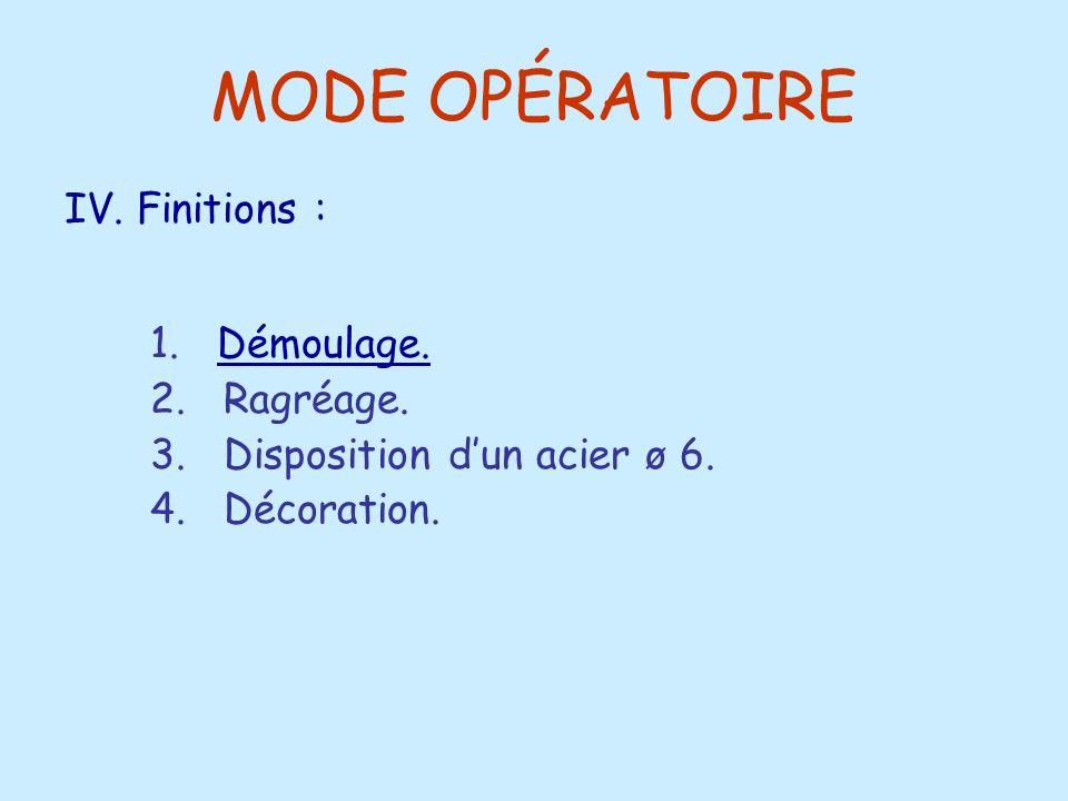 MODE OPÉRATOIRE 1. Démoulage. IV. Finitions : 2. Ragréage.