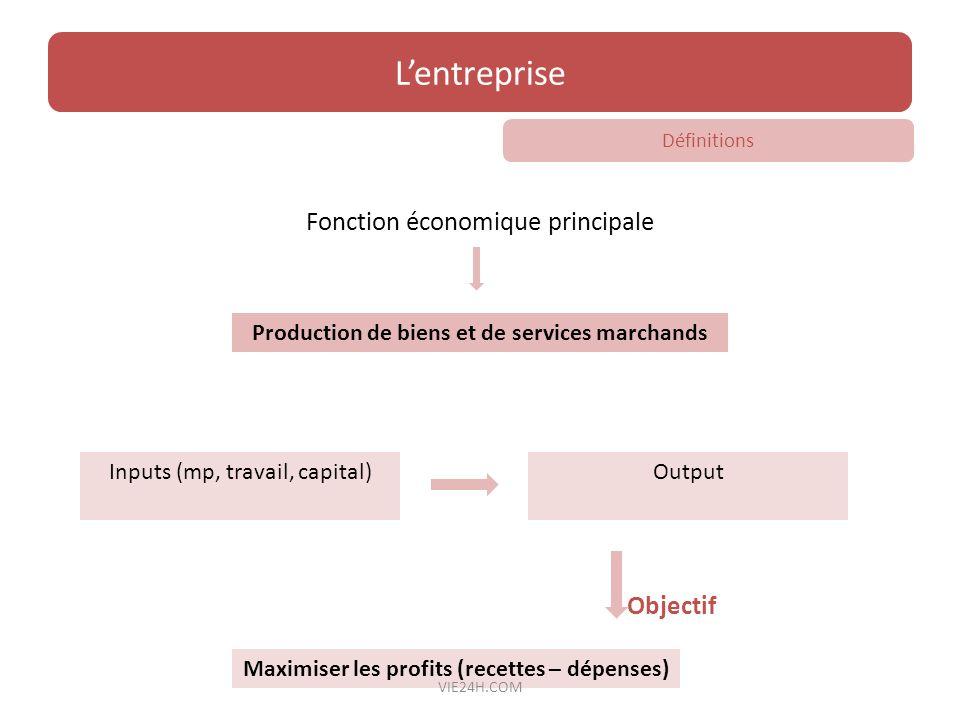 L'entreprise Fonction économique principale Objectif