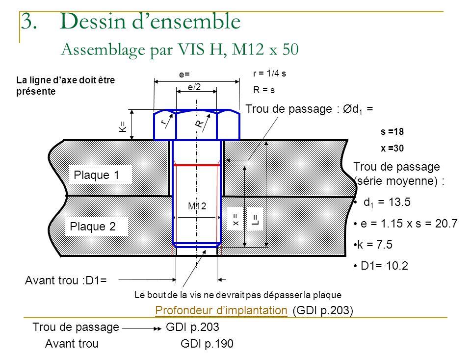 3. Dessin d'ensemble Assemblage par VIS H, M12 x 50