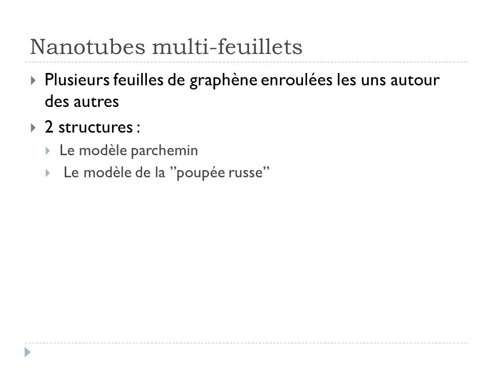 Nanotubes multi-feuillets