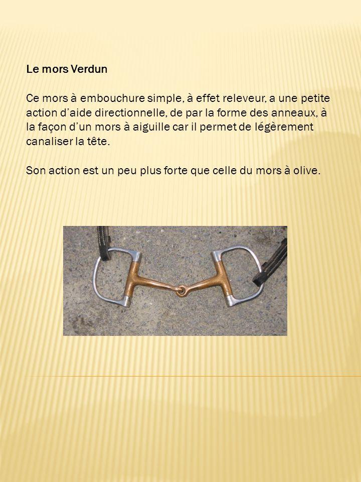 Le mors Verdun Ce mors à embouchure simple, à effet releveur, a une petite action d'aide directionnelle, de par la forme des anneaux, à la façon d'un mors à aiguille car il permet de légèrement canaliser la tête.