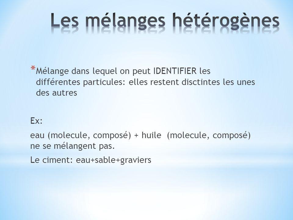 Les mélanges hétérogènes