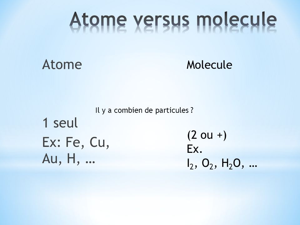 Atome versus molecule Atome 1 seul Ex: Fe, Cu, Au, H, … Molecule