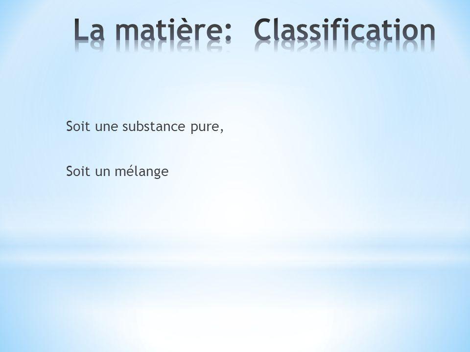 La matière: Classification