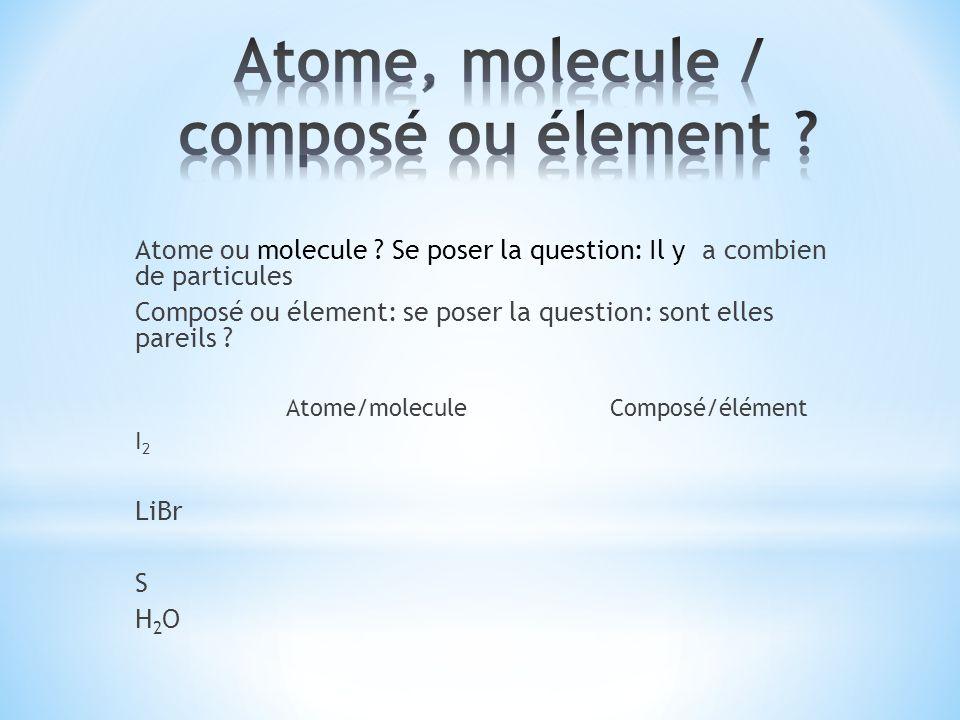 Atome, molecule / composé ou élement