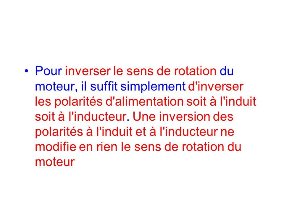 Pour inverser le sens de rotation du moteur, il suffit simplement d inverser les polarités d alimentation soit à l induit soit à l inducteur.