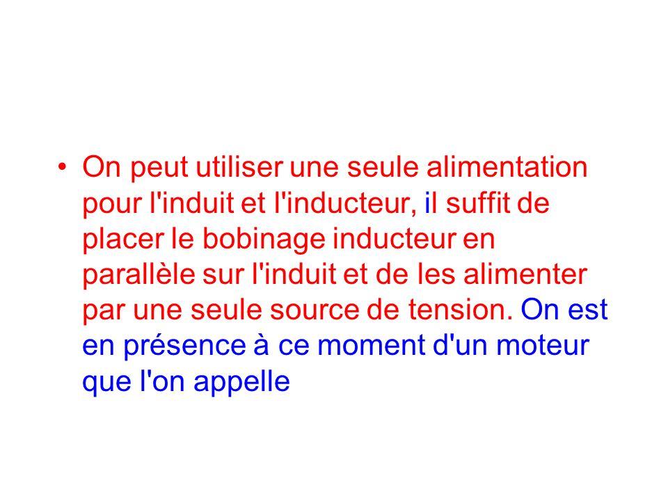 On peut utiliser une seule alimentation pour l induit et l inducteur, il suffit de placer le bobinage inducteur en parallèle sur l induit et de les alimenter par une seule source de tension.