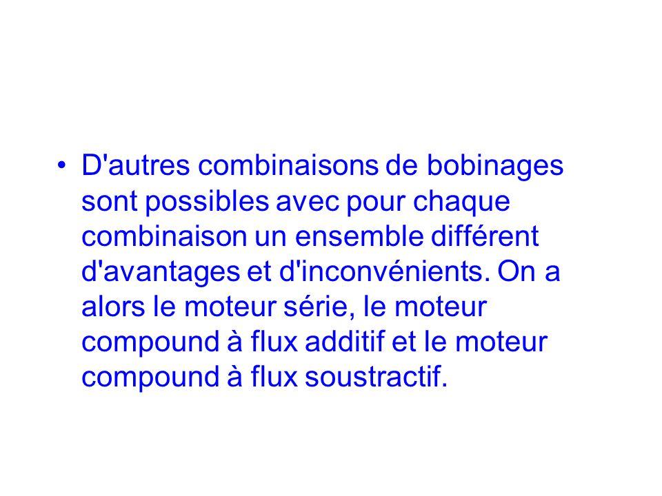 D autres combinaisons de bobinages sont possibles avec pour chaque combinaison un ensemble différent d avantages et d inconvénients.