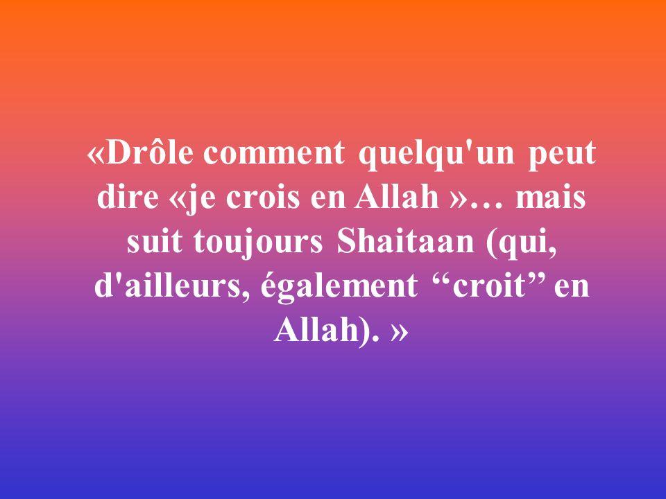 «Drôle comment quelqu un peut dire «je crois en Allah »… mais suit toujours Shaitaan (qui, d ailleurs, également ''croit'' en Allah). »