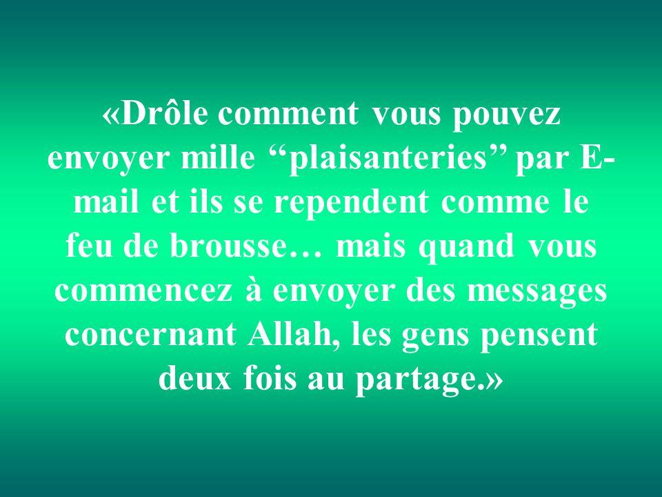 «Drôle comment vous pouvez envoyer mille ''plaisanteries'' par E-mail et ils se rependent comme le feu de brousse… mais quand vous commencez à envoyer des messages concernant Allah, les gens pensent deux fois au partage.»