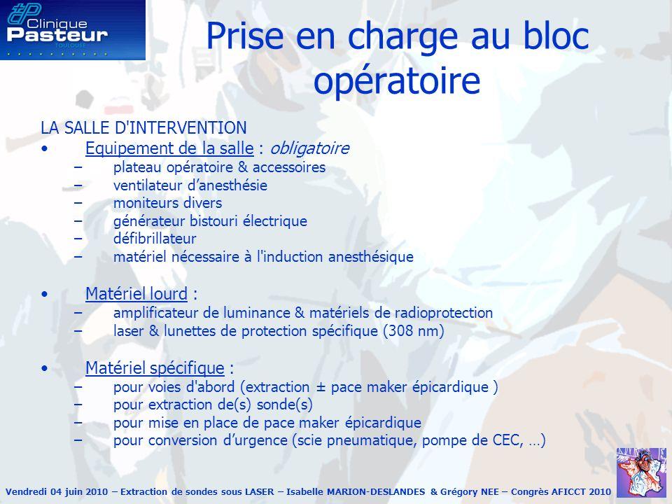 Prise en charge au bloc opératoire