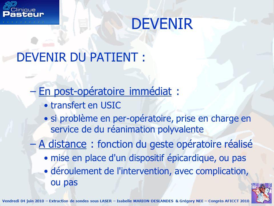 DEVENIR DEVENIR DU PATIENT : En post-opératoire immédiat :