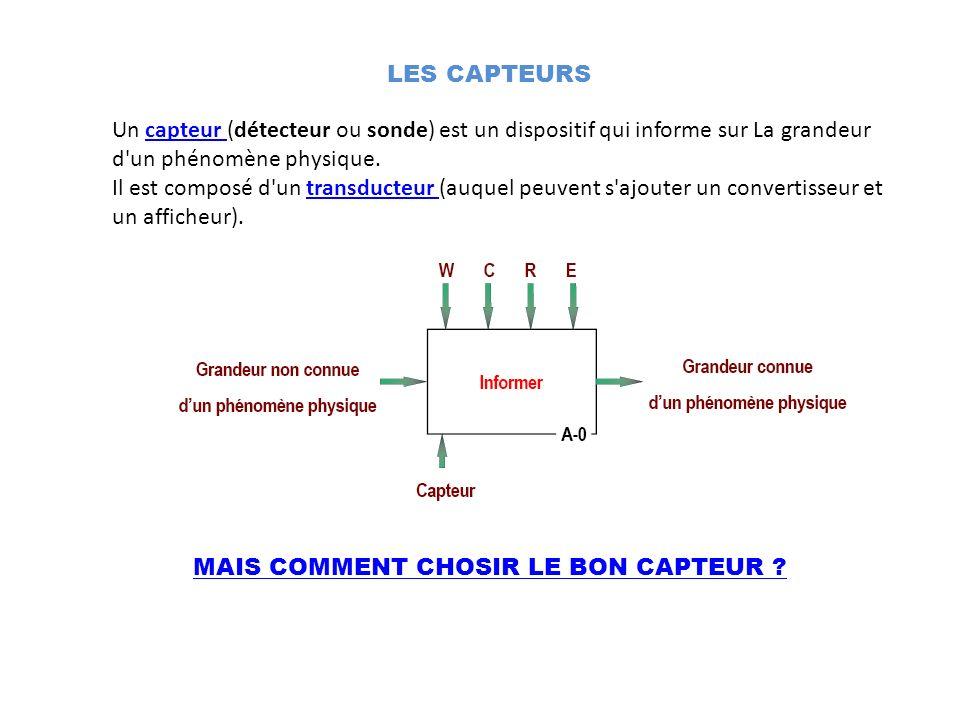 MAIS COMMENT CHOSIR LE BON CAPTEUR