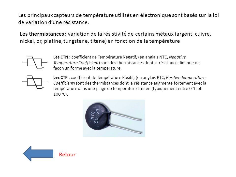 Les principaux capteurs de température utilisés en électronique sont basés sur la loi de variation d'une résistance.