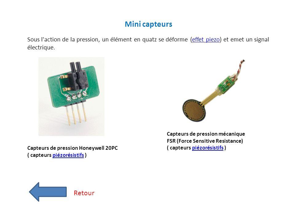 Mini capteurs Sous l action de la pression, un élément en quatz se déforme (effet piezo) et emet un signal électrique.